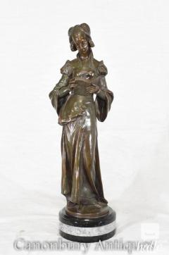 Art Nouveau Bronze Figurine - French Reading Girl