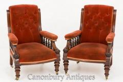 Pair Victorian Arm Chairs - Antique Club Seats 1860