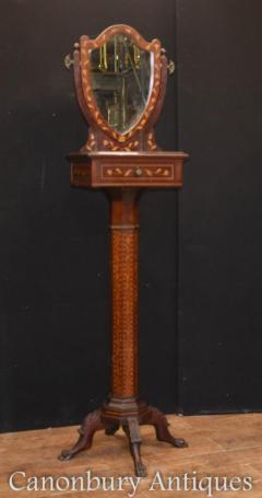 Antique Dutch Marquetry Vanity Hat Stand - Mirror