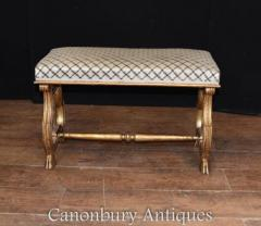 French Empire Stool - Gilt Lyre Seat 1890