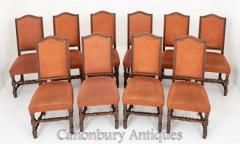 Set Oak Jacobean Dining Chairs 10 Farmhouse Diners