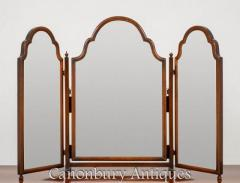 Queen Anne Triple Mirror - Dressing Mirrors Mahogany