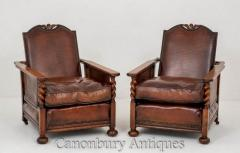 Pair Antique Club Chairs - Oak Leather Armchair 1920