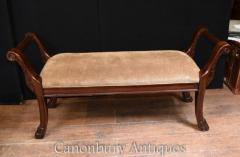 Victorian Stool Window Seat - Antique Mahogany Bench
