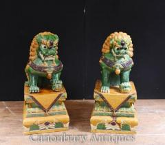 Pair Antique Chinese Foo Dogs - Porcelain Fu Dog