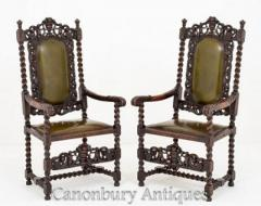 Pair Jacobean Oak Chairs Carver Arm Chairs Farmhouse