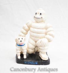 Michelin Man Tyre Statue with Dog Cast Iron Bibendum