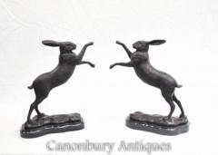 Pair Bronze Hares Statues Dancing Hare Rabbit