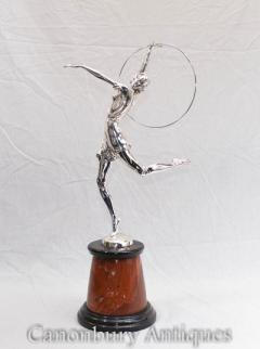Art Deco Bronze Hoop Dancer By B Zach Signed Silver