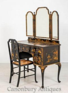 Queen Anne Chinoiserie Desk Dressing Table Chair Set