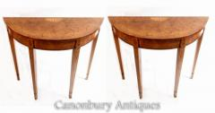Buy Pair Regency Console Tables - Demi Lune Inlay