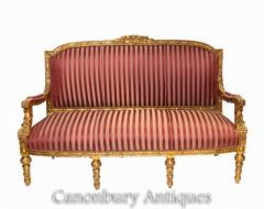 Buy French Empire Settee - Gilt Antique Sofa Couch 1920