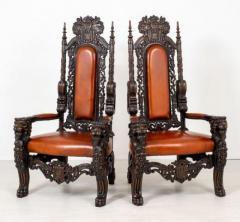 Carved Oak Italian Renaissance Arm Chairs