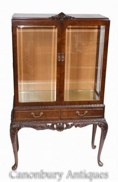 Pair Antique Display Cabinets - Walnut Victorian Bookca