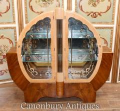 Buy Art Deco Display Cabinet - Walnut Vintage 1920