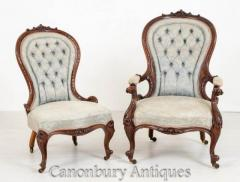 Pair Victorian Parlour Chairs - His And Hers Arm