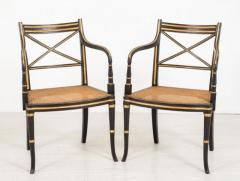 Regency Arm Chairs - Ebony Gilt Antique Interior