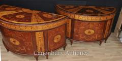 Buy Pair Regency Inlaid Commodes Demi Lune Cabin