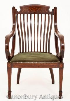 Buy Antique Sheraton Revival Arm Chair Elbow Cha