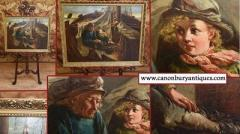 Buy Victorian Oil Painting Portrait Girl And Fis