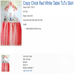 Crazy Chick Red White Table TuTu Skirt