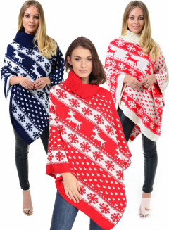 HEART AND SNOWFLAKES NOVELTY COLLER PONCHO