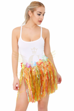 Multi Coloured Hula Skirt with Flowers 40cm