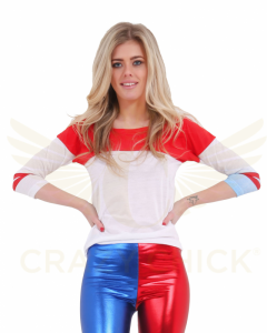 Ladies White Red Blue T-Shirt