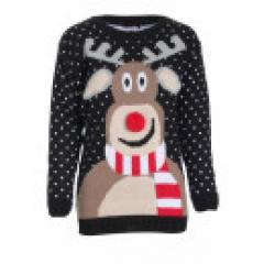 BLACK POM POM NOSE REINDEER NOVELTY CHRISTMAS JUMPER S