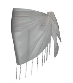Plain Half White Cotton Sarong With Tassels & Beads