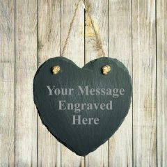 Personalised Heart Shaped Hanging Slate Any Message
