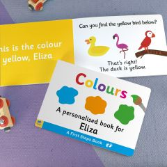 Personalised First Steps Colours Board Book For Toddler