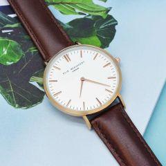 Modern - Vintage Personalised Leather Watch In Brown