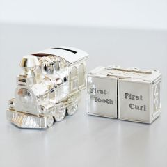 Silver Plated Train Money Box Tooth And Curl Carriages