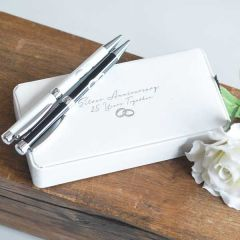 Silver Anniversary 25 Years Together Twin Pen Set Gift