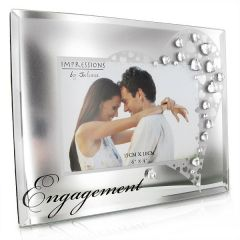 Mirror Glass And Crystals 6 X 4 Engagement Photo Frame