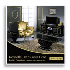 Rossella Black and Gold Italian Furniture at Furniture