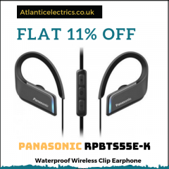 Panasonic RPBTS55E-K Waterproof Wireless Clip Earphones