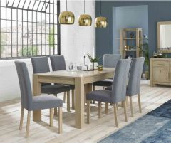 Bentley Designs Dining Table with 6 Square Back Chairs