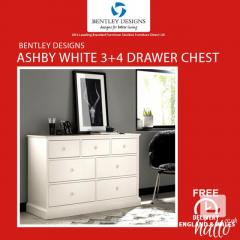 Bentley Designs Ashby White 3-4 Drawer Chest  Furniture