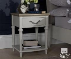 Bentley Designs Oak Grey Lamp Table with Turned Legs