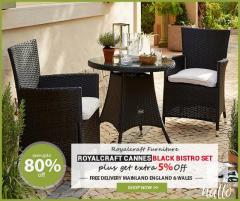 Reduce Price  Royalcraft Cannes Black Bistro Set
