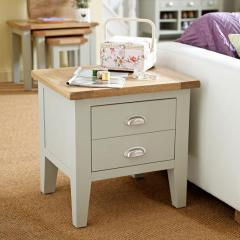Besp Oak Vancouver Expressions Grey 1 Drawer Lamp Table