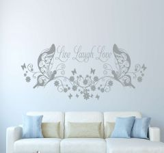 Live Laugh Love butterfly floral wall decal