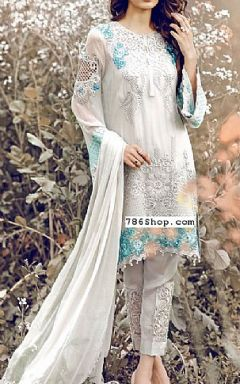 Ash White Chinese Chiffon Suit