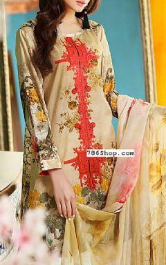 Beige Lawn Suit - Buy Pakistani Dresses Online