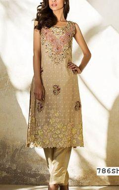 Ivory Crinkle Chiffon Suit - Buy Pakistani Dresses