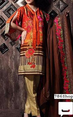 Pakistani Winter Clothes - OrangeBeige Staple Jacquard