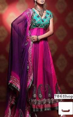 PinkIndigo Chiffon Suit - Pakistani Party Dresses