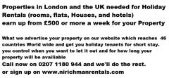 Properties in London and the UK needed For Holiday Rent